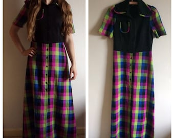Funky vintage 60s 70s floor length checkered dress
