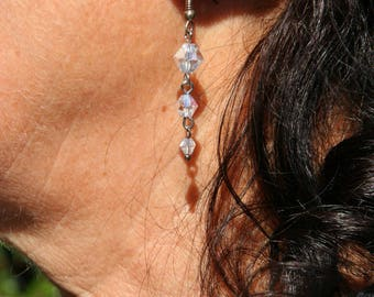 Clear white crystal earrings