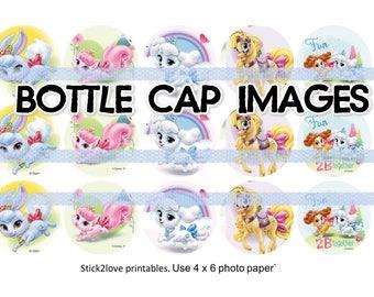 "Palace Pets printables  4x6 - 1"" circles, bottle cap images, princess disney"