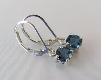 London Blue Topaz Earrings, Natural London Blue, Sterling Silver, Leverback Gemstone Earrings, December Birthstone, Blue Dangle Earrings