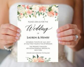 Peach wedding invite Etsy