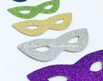 Glitter Mask Embellishment die cut - set of 24 Mardi Gras Masquerade