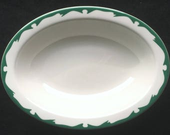 Buffalo Hotel Restaurant Diner China Crest Green on White Serving/Vegetable Bowl in Excellent Condition