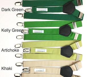 Suspenders,Black,Dark Green,Kelly Green,Artichoke,Khaki,Grotto