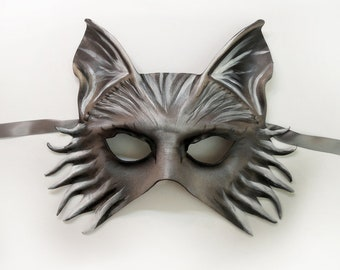 Wolf Fox Dog Leather Mask very lightweight yet sturdy Entirely Handcrafted grey brown black