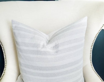 Light Coastal Grey/Gray Stripe/Neutral Stripe White/Gray Pillow Cover 24x24