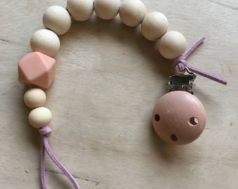 Wooden bead, silicone, and leather pacifier clip