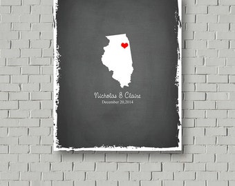 Wedding Map State Guest Book Alternative, Wedding Gift, Chicago Guest Book Print, Wedding Keepsake, Faux Chalkboard Wedding Sign Poster