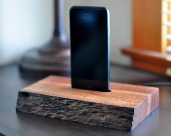 African Padauk Live Edge iPhone 5, 6, 7 Lightning Dock iPhone  Docking Station Charger Wood Rustic