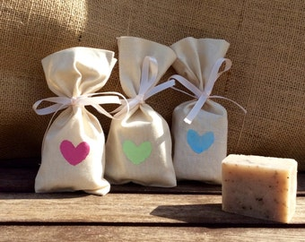Rustic Handmade Soap + Heart Stamped Calico Bag, BABY Shower Soap Favors, Bridal Shower Favors, Wedding Soap Gift favors
