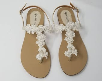 Ivory Wedding Sandals with Lace and Pearls Ivory Wedding Shoes Destination Wedding Sandals Beach Wedding Sandals Vegan Sandals