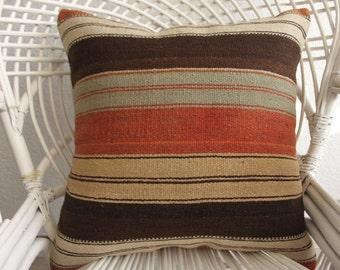kilim pillow cover kelim kissen kilim stool brown and cream striped pillow floor cushion 20x20 hippie pillow vintage covered pillows 822