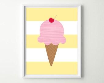 Ice Cream Nursery Decor - Kids Ice Cream Decor - Ice Cream Wall Art - Ice Cream Prints - Pink Kitchen Wall Art