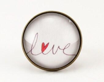 Romantic Love Ring, Bronze Adjustable Heart Ring, Valentine Art Jewelry .