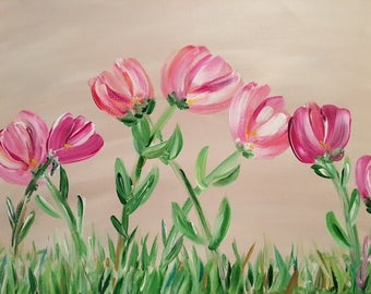 "Little Girls' Florals - wall décor acrylic painting, 09""x12"" canvas stretched/wrapped on 5/8"" bars"