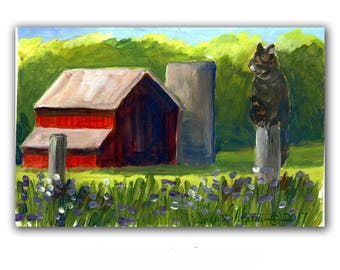 Red Hay Barns Farm Acrylic Original Painting llmartin 4 by 6 inches  Free Shipping USA Children Luciano Pawvarotti Toddlers, Moms