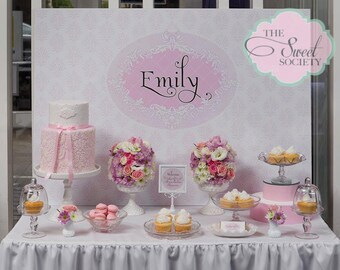 FRILLY DAMASK Printable Party Backdrop - you print