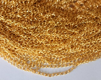 Fine gold chain 2.5 * 1 mm, set of 5 48 cm