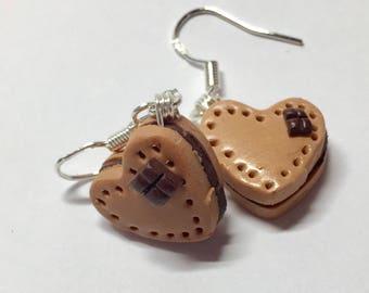 Hand made heart cookie earrings