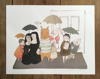Umbrella Bus Stop 8.5x11 print