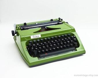 Vintage Green Typewriter Working Typewriter Germany Erika 60s 70s