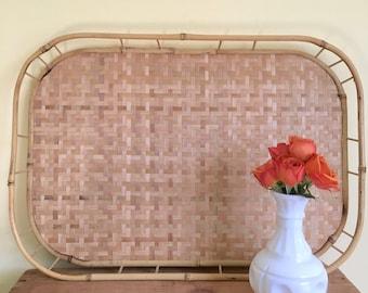 Vintage Woven Straw and Bamboo Tray, Boho 1970's Decor, Serving Tray, Breakfast Tray