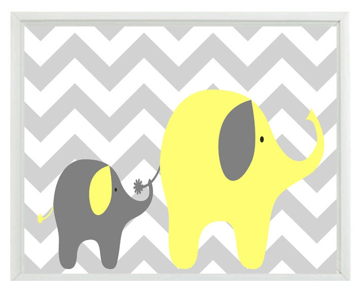 Elephant Chevron Nursery Wall Art Print Yellow Gray Decor