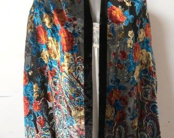 Vintage Burnt out Sik Velvet Shawl  #031