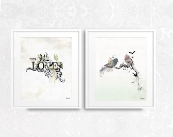 Wall Art Set of 2, Typography Print Set, Love Print, Bedroom Print Set, Bedroom Wall Decor, Bedroom Wall Art, Typography Art, Quotes Prints