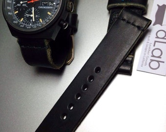 22mm Black Handmade Genuine Leather vintage Watch Band / strap with stitch