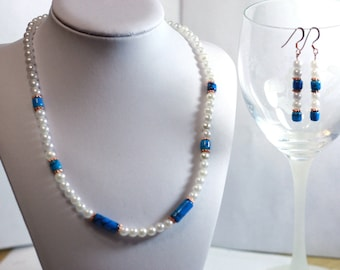 Faux White Pearl and Turquoise Glass Bead Necklace and earrings set - Handmade Jewelry Accessories