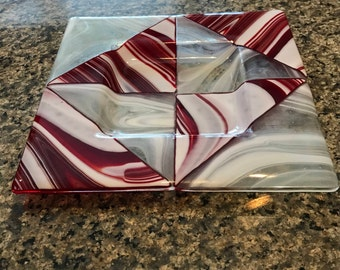 Red and white fused glass plate