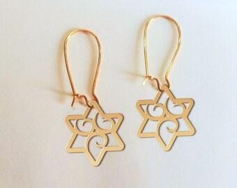 Jewish star earrings, Jewish star jewelry, star of David earrings, star of David jewelry,  Jewish jewelry, Jewish gift, bat mitzvah gift