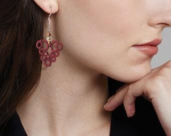 Dark maroon lace delicate earrings lace earrings tatted earrings lace jewelry Dark maroon earrings tatting lace frivolite fabric