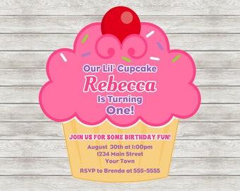Cupcake Birthday Invitation, Cupcake Invitation, Cupcake 1st Birthday Invitation - Digital File (Printing Services Available)