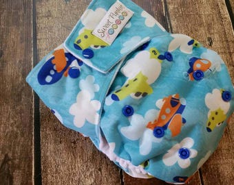 One Size Pocket Cloth Diaper Flying High 15-40 lbs PUL