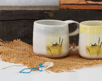 Ceramic mug with fairy tale scene - The Grasshopper by Hans Christian Andersen - handmade illustrated pottery