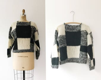 vintage 80s sweater / colorblock sweater / Checkerboard sweater