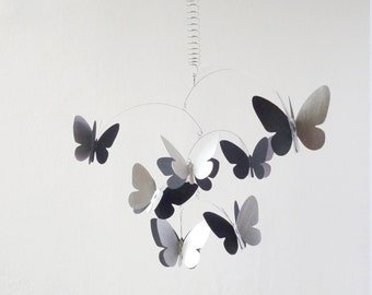 3D Butterfly Mobile, Kinetic Mobile,Handpainted Silver and Black Mobile, Home decor, Butterfly Hanging