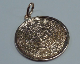 Gold aztec pendant etsy 19k yellow gold acapulco aztec calendar 2 sided pendant aloadofball Image collections