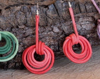 Earrings pair paper mache with metal core Canapart artisan 50% off. 01