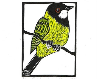 Linocut of a Golden Whistler with Hand Painted Water Colour, Australian Bird Print, Printmaking, Lino Print
