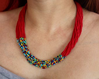 Matte Red with Mixed Accent Multi-Strand Seed Beads Necklace, Handmade in Nepal
