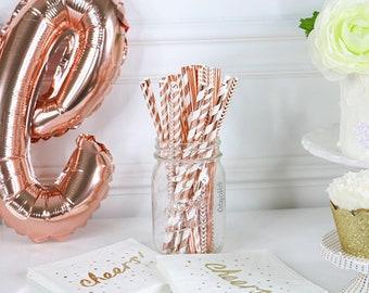25x ROSE GOLD FOIL Metallic Paper Straws (19.5cm x 0.6cm) Party Decor Party Drink