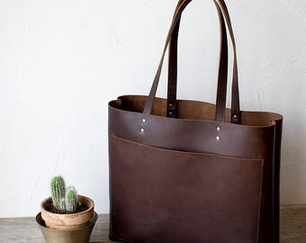 Large Dark Brown Leather Tote bag No. LPB-20112
