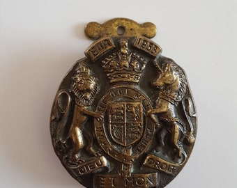 Vintage 1953 Queen Elizabeth II Coronation cast brass door knocker, Made in England