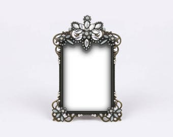 Tiny Diamonds Picture Frame, Silver Beads Photo Frame, Boheme Chic Baby Shower, Parisian Wedding, Bridal Rhinestones, Gold Metal Numbers