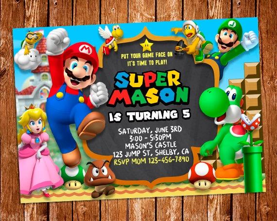 Super Mario Invitation Super Mario Printable Invitation