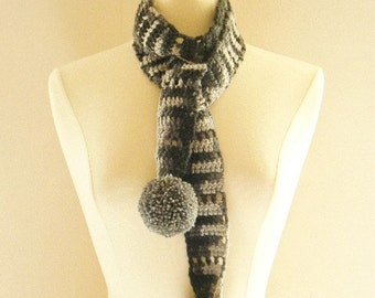 Crocheted Womens Skinny Scarf in Shades of Gray and Black with Handmade Pom Poms