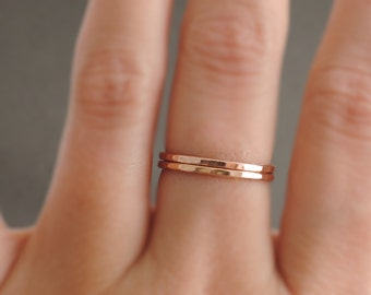 Rose Gold Ring 2 slim hammered stacking rings thin gold ring - thumb ring - midi ring or knuckle ring